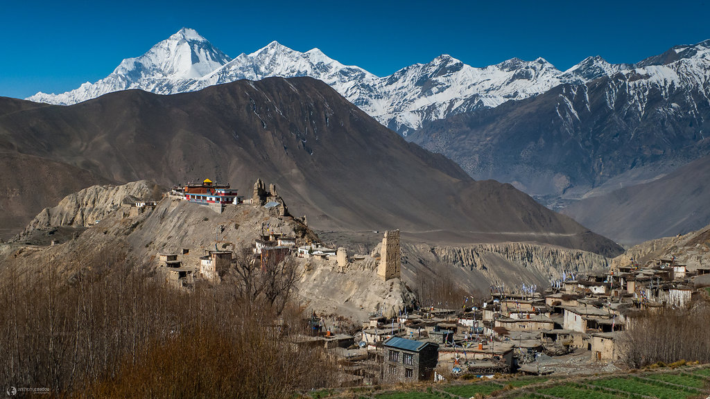 Jhong village and Dhaulagiri
